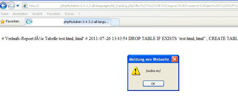 phpMyAdmin-3.3-3.4 XSS Tracking Export