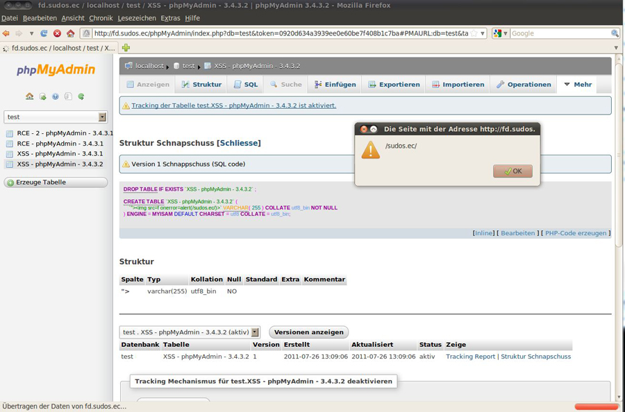 phpMyAdmin-3.3-3.4 XSS Tracking Report